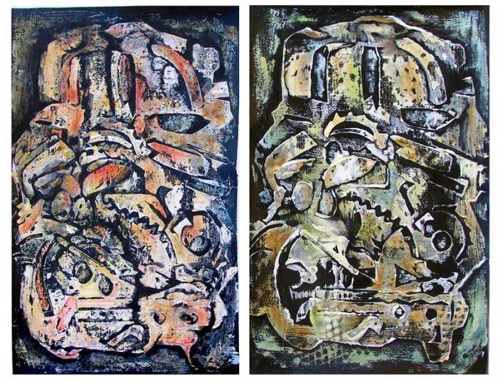 Jacqueline Gagnès-Deneux 2008 - Machine à peindre - Variations autour de monotypes (I et II)