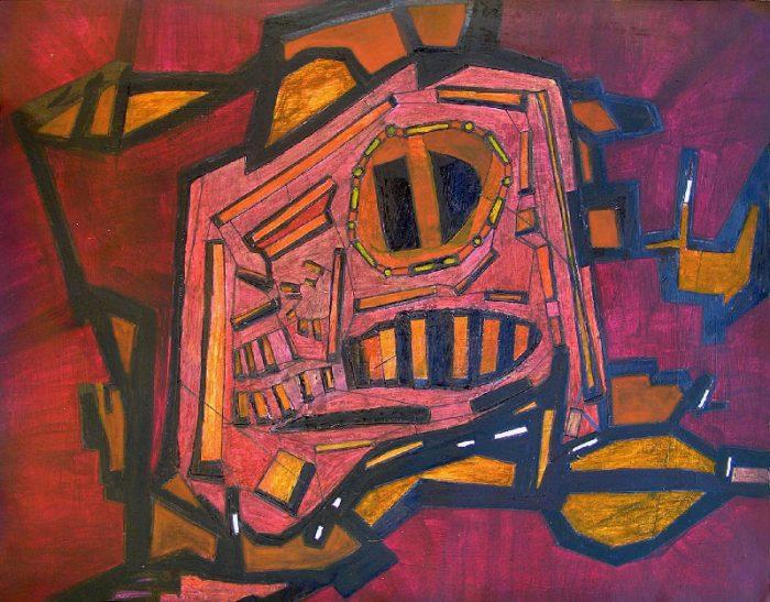 Katerine Bruneau 2008 - Machine à peindre - Peinture acrylique sur collage relief