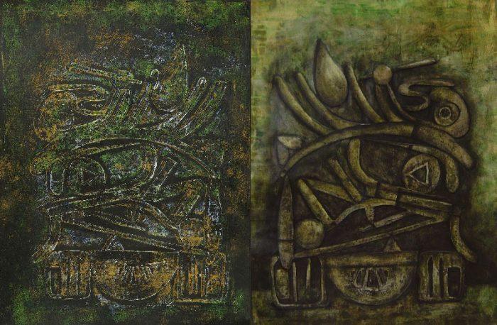 Stéphanie Rose-Tomasella 2008 - Machine à peindre - Monotype et acrylique sur collage relief