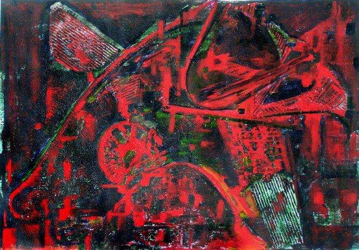 Yolande Bernard 2008 - Machine à peindre - Peinture sur monotype