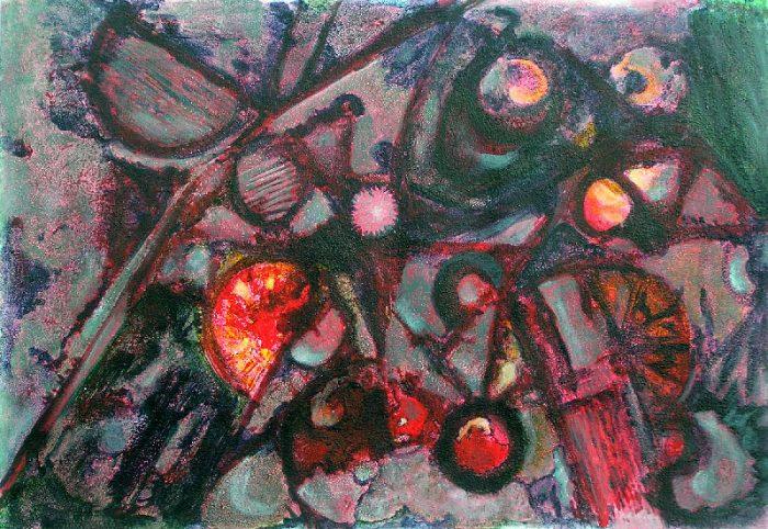 Yolande Bernard 2008 - Machine à peindre - Peinture sur mortier