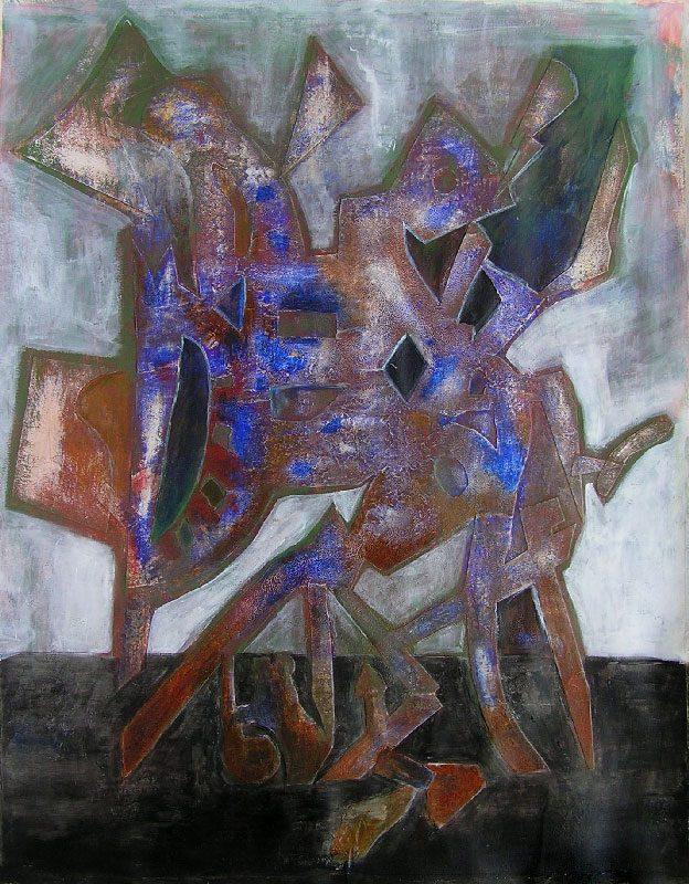 Yvonne Thoumyre 2008 - Machine à peindre - Peinture acrylique patinée sur monotype