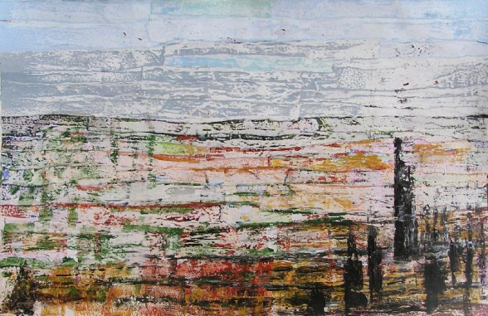 Christiane Bour 2008 - Paysage à inventer - Acrylique sur papier collé poncé.