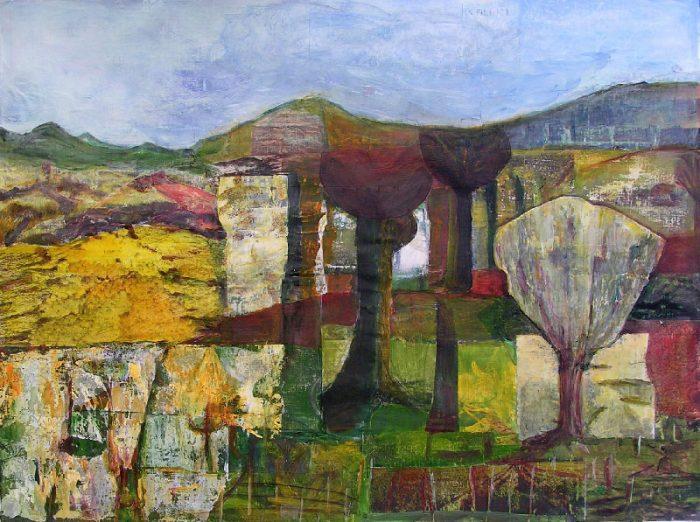 Eliane Le Roux 2008 - Paysage à inventer - Acrylique sur papier collé poncé.