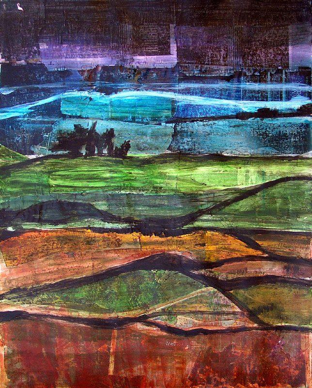 Jacqueline Putatti 2008 - Paysage à inventer - Acrylique sur papier collé poncé.