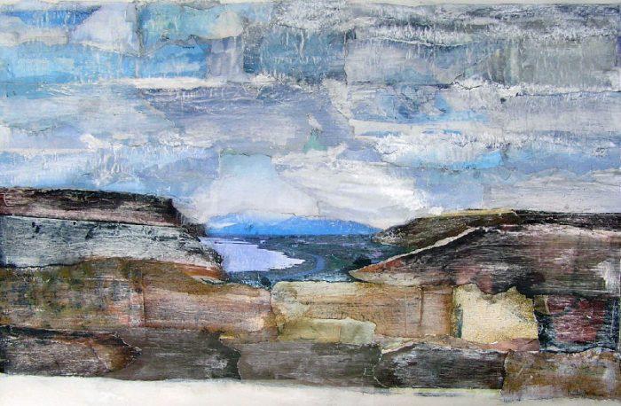 Katerine Bruneau 2008 - Paysage à inventer - Acrylique sur papier collé poncé.