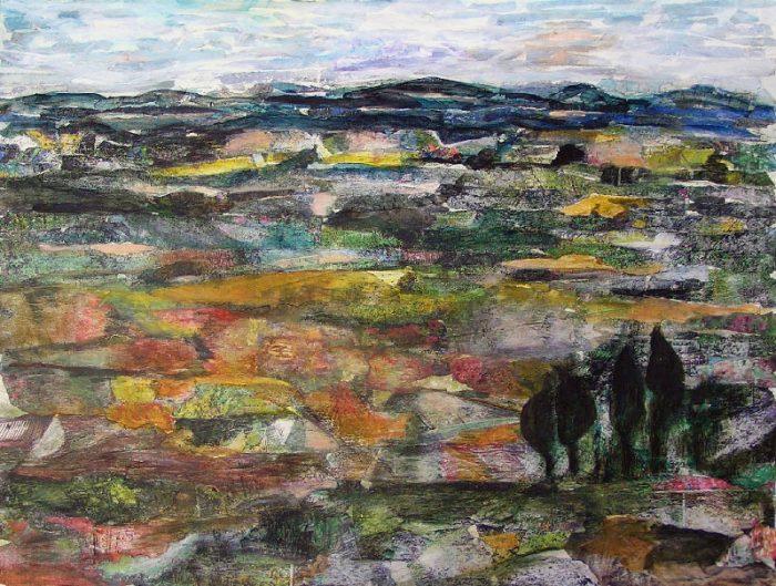 Mireille Vincent 2008 - Paysage à inventer - Acrylique sur papier collé poncé.