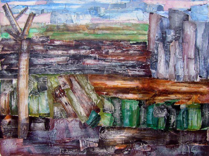 Pauline Dautel 2008 - Paysage à inventer - Acrylique sur papier collé poncé.