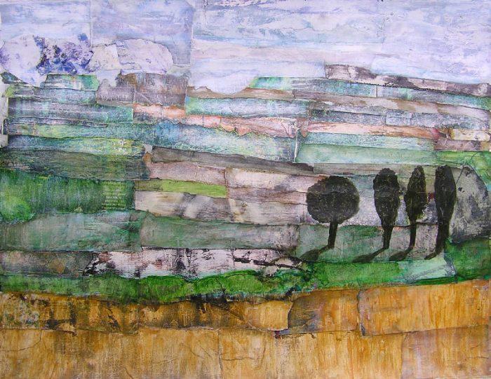 Philippe Touati 2008 - Paysage à inventer - Acrylique sur papier collé poncé.