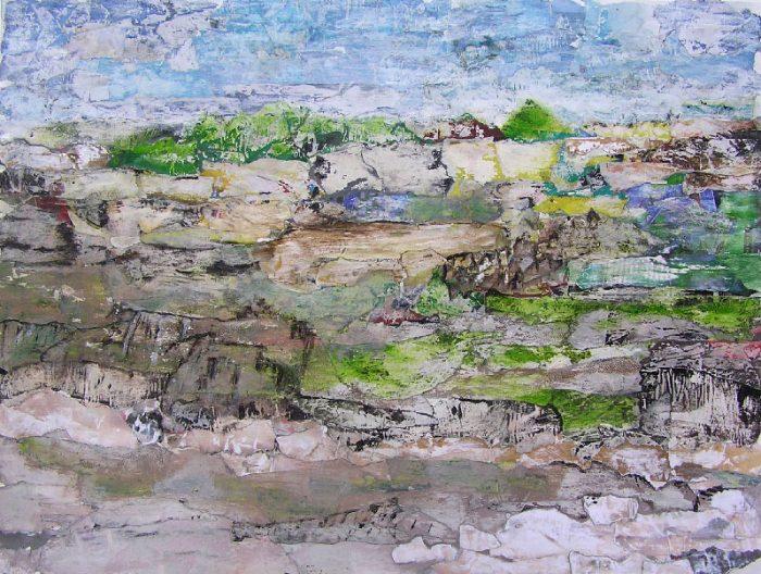 Régine Labouré 2008 - Paysage à inventer - Acrylique sur papier collé poncé.