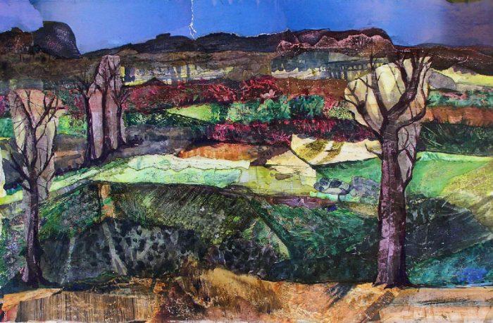 Solenne Blanc 2008 - Paysage à inventer - Acrylique sur papier collé poncé.