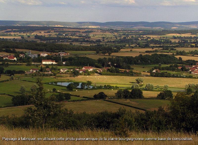 Paysage à fabriquer, en utilisant cette photo panoramique de la plaine bourguignonne comme base de composition.