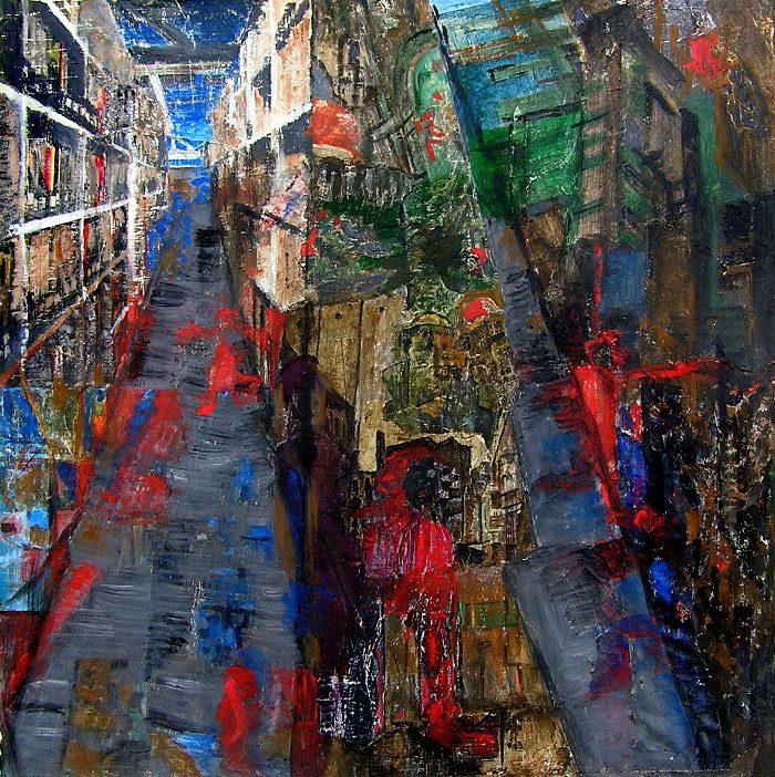 Andrée Job-Querzola 2008 - L'énigme d'une rue - Peinture et collage