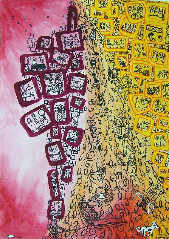 Anum 2008 - L'énigme d'une rue - Dessin au feutre et acrylique