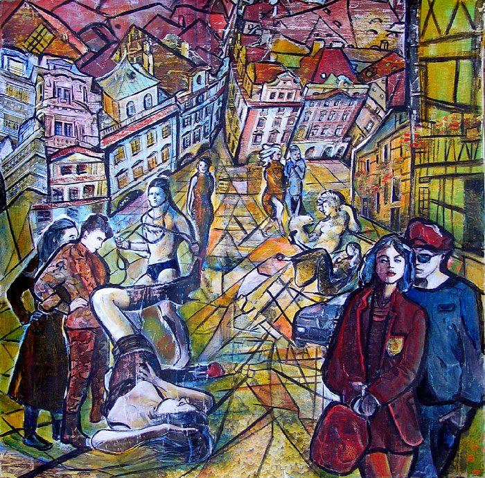 Jacqueline Gagnès-Deneux 2008 - L'énigme d'une rue - Collage et acrylique