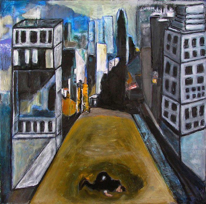 Madeleine Gautier-Brun 2008 - L'énigme d'une rue - Collage et acrylique (II)
