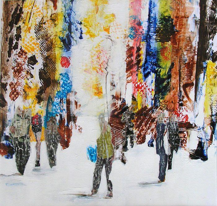 Nelly Bonmartin 2008 - L'énigme d'une rue - Collage et acrylique