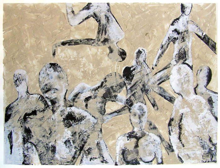 Pauline Dautel 2008 - L'énigme d'une rue - Mortier, acrylique et collage (I)