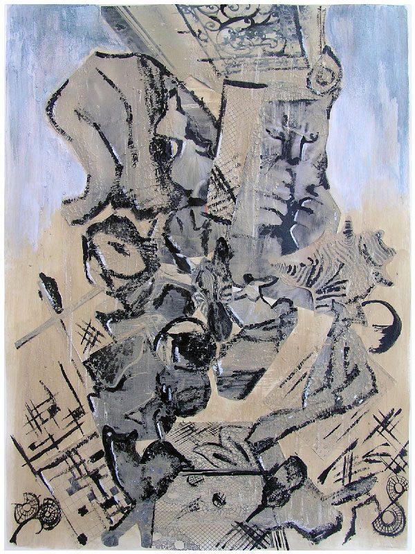 Pauline Dautel 2008 - L'énigme d'une rue - Mortier, acrylique et collage (II)