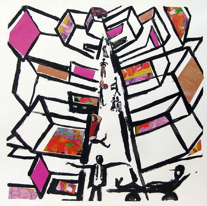Pauline Dautel 2008 - L'énigme d'une rue - Acrylique et collage