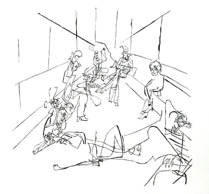 Pauline Dautel 2008 - L'énigme d'une rue - Dessin à l'aveugle au crayon, repassé à l'acrylique.
