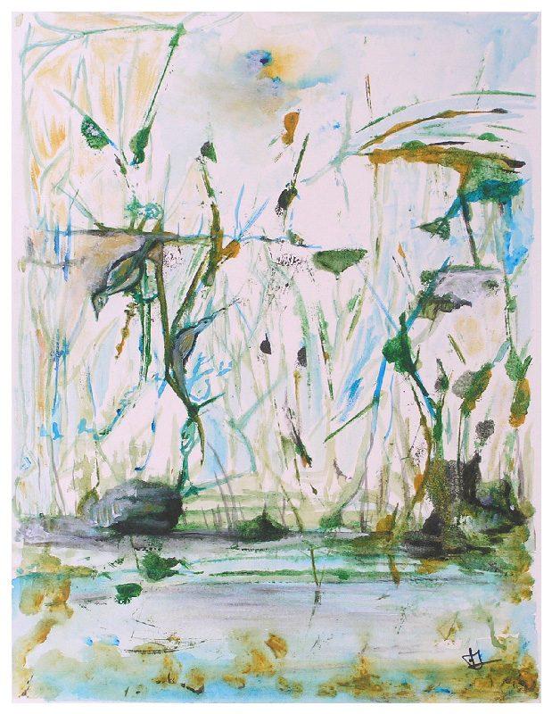 Françoise Leboullenger 2008 - Herbes et oiseau - Lavis et empreinte avec utilisation d'un pochoir.