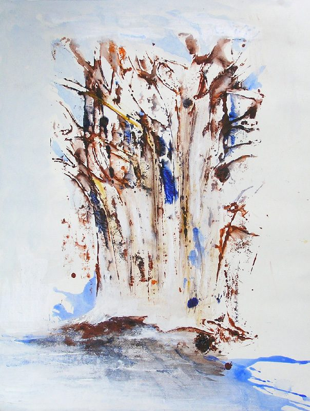 Lucienne Cywier 2008 - Arbres - Lavis et empreinte avec utilisation d'un pochoir (VII)