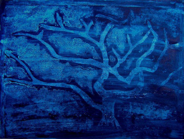 Madeleine Gautier-Brun 2008 - Empreinte d'un collage en relief sur fond d'acrylique.