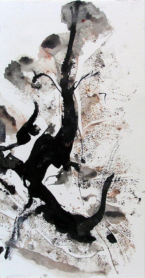 Mijo Gilbert 2008 - Arbres - Pochoir, lavis, geste calligraphique.