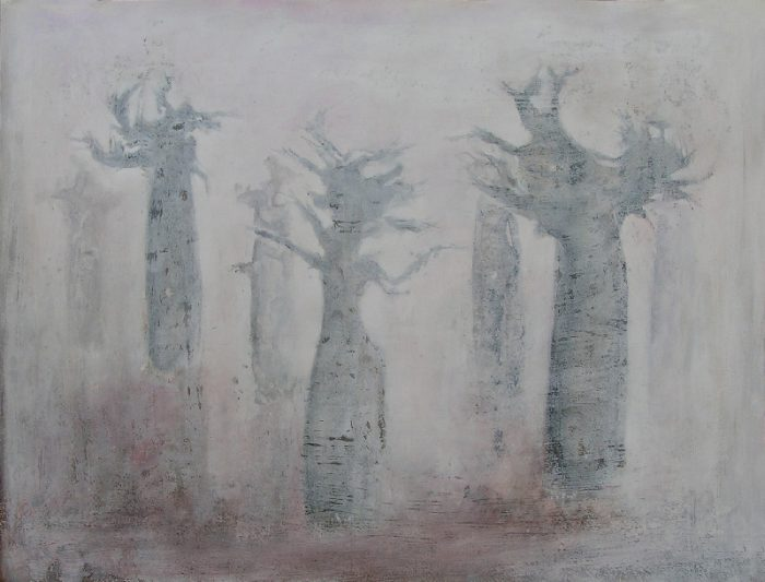 Yolande Bernard 2008 - Baobabs - Pochoir, monotype, acrylique (I)