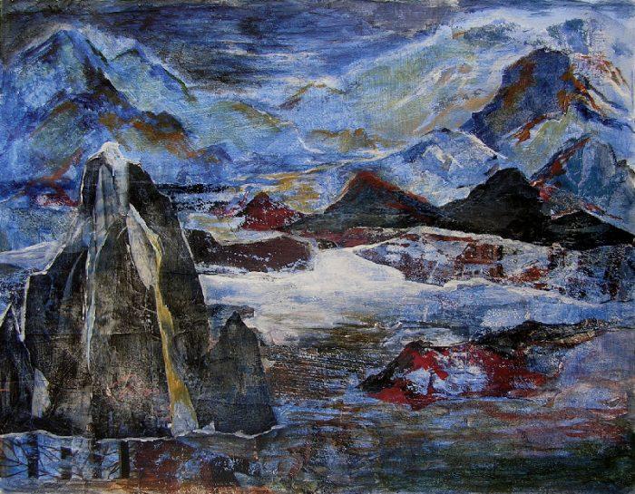 Alessandra Benech 2009 - Le rocher rêve de montagne - Acrylique sur papier collé.