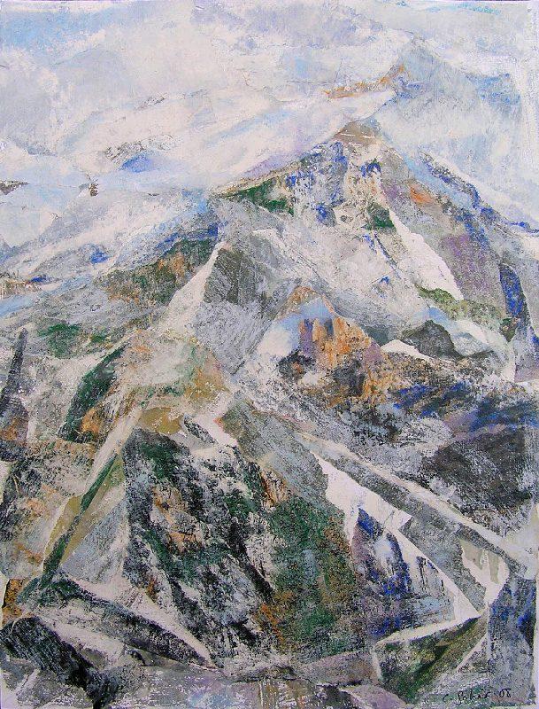 Catherine Solier 2009 - Le rocher rêve de montagne - Acrylique sur papier collé.