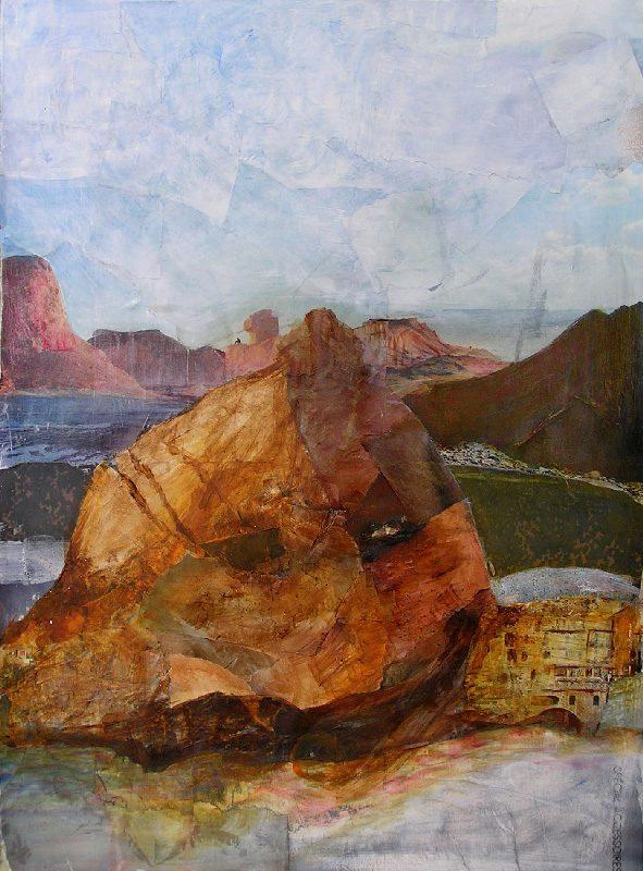 Eliane Le Roux 2009 - Le rocher rêve de montagne - Acrylique sur papier collé.