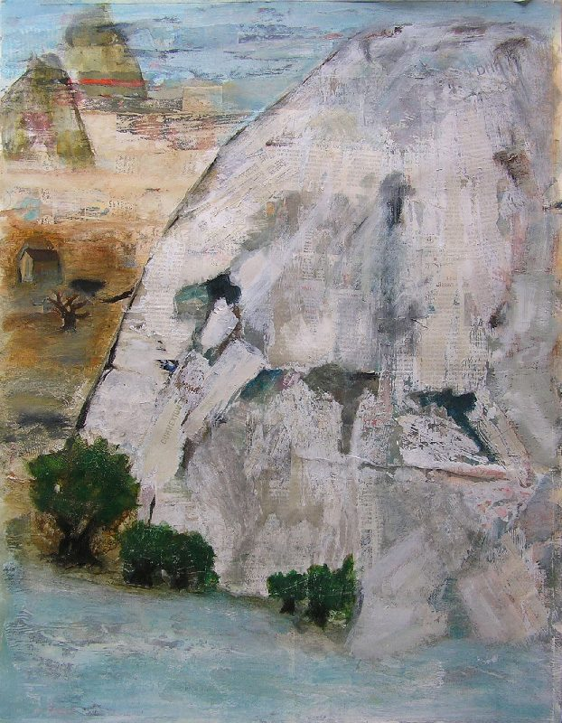 Elise Durand-Bazin 2009 - Le rocher rêve de montagne - Acrylique sur papier collé.