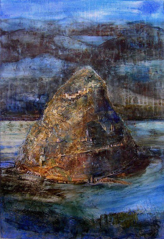 Françoise Guillemare 2009 - Le rocher rêve de montagne - Acrylique sur mortier et papier collé.