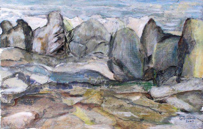 Geneviève Buchon 2009 - Le rocher rêve de montagne - Acrylique sur papier collé.