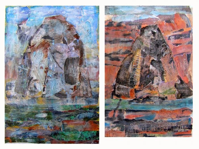 Gisèle Dubois 2009 - Le rocher rêve de montagne - Acrylique sur papier collé.
