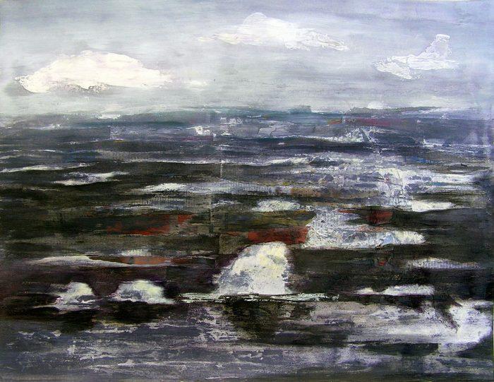 Isabelle Barnavon 2009 - Le rocher rêve de montagne - Acrylique sur mortier et papier collé.