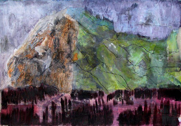 Janine Bailliez 2009 - Le rocher rêve de montagne - Acrylique sur papier collé.