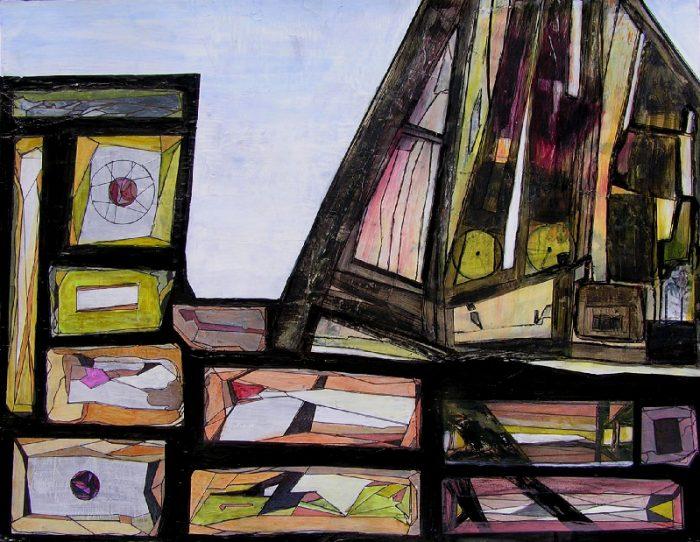 Katerine Bruneau 2009 - Le rocher rêve de montagne - Acrylique sur papier collé.