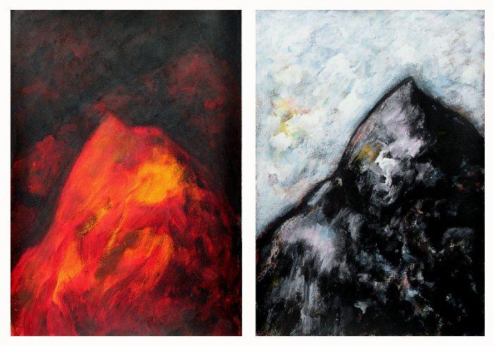 Ladin Sabras 2009 - Le rocher rêve de montagne - Acrylique sur papier.