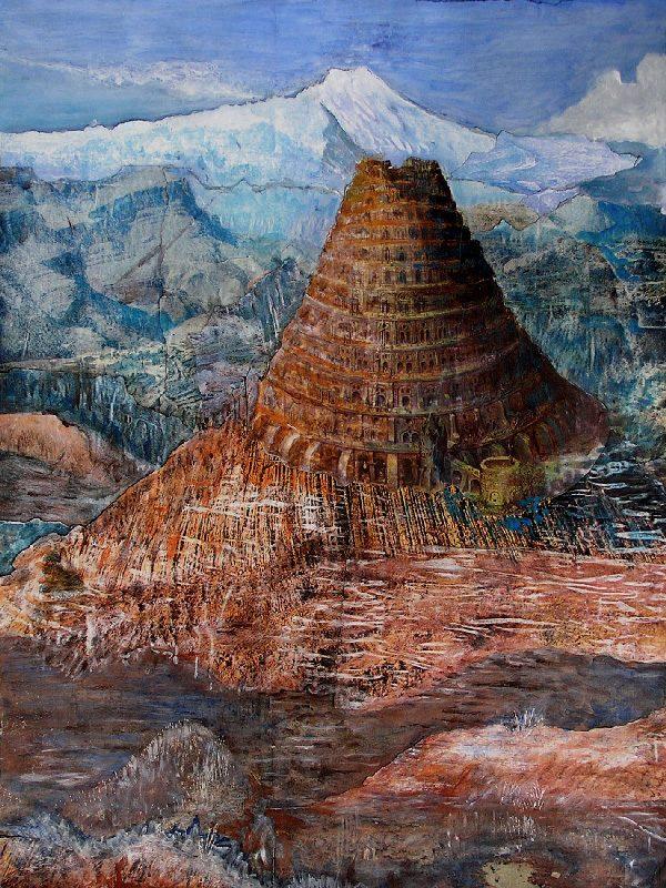 Lucienne Cywier 2009 - Le rocher rêve de montagne - Acrylique sur papier collé.