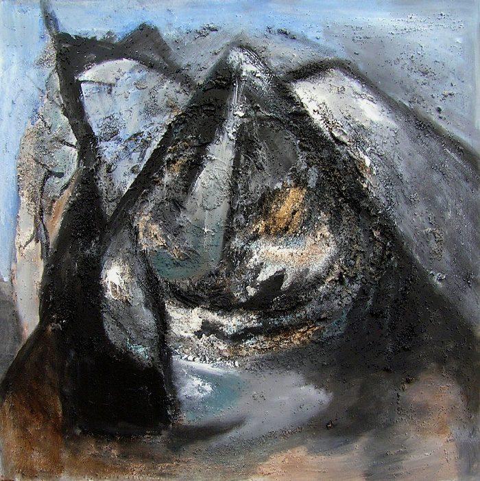 Madeleine Gautier-Brun 2009 - Le rocher rêve de montagne - Acrylique et mortier sur papier.