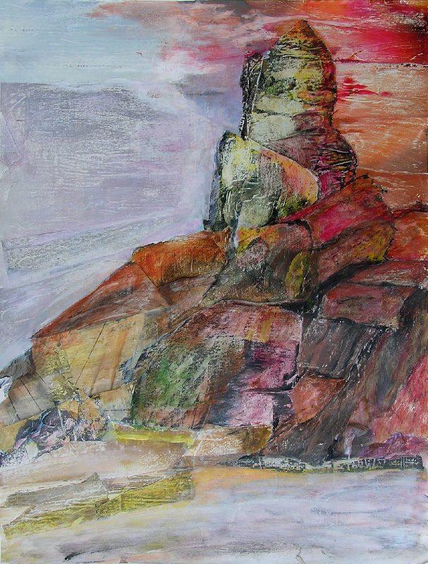 Martine Aubrey 2009 - Le rocher rêve de montagne -Acrylique sur papier collé.