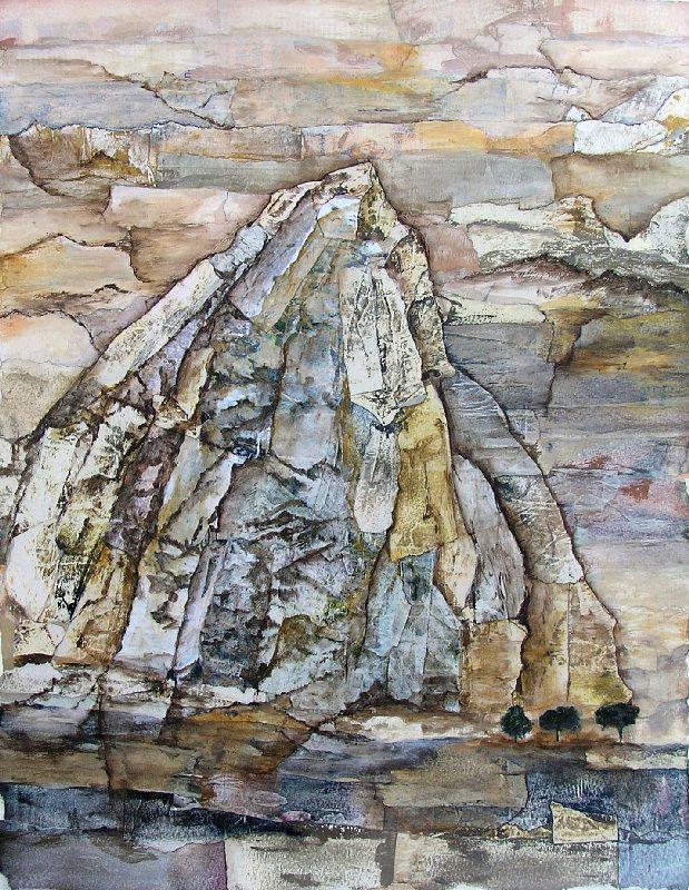 Martine Lucy 2009 - Le rocher rêve de montagne - Acrylique sur papier collé.