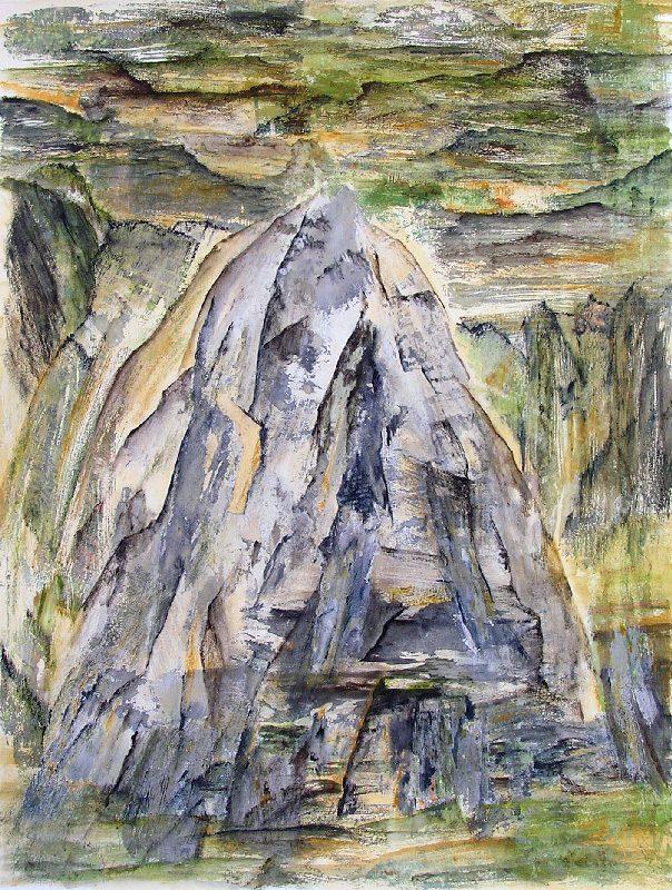 Martine Lucy 2009 - Le rocher rêve de montagne - Acrylique sur transferts.