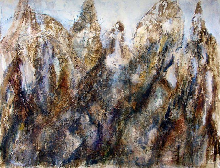 Mireille Vincent 2009 - Le rocher rêve de montagne - Acrylique sur papier collé.