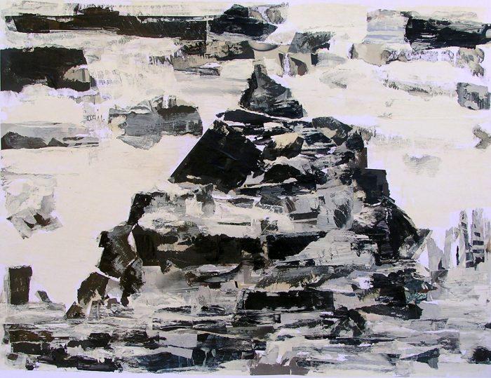 Pauline Dautel 2009 - Le rocher rêve de montagne - Acrylique sur papier collé.