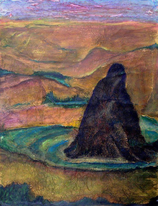 Yolande Bernard 2009 - Le rocher rêve de montagne - Acrylique sur papier collé.