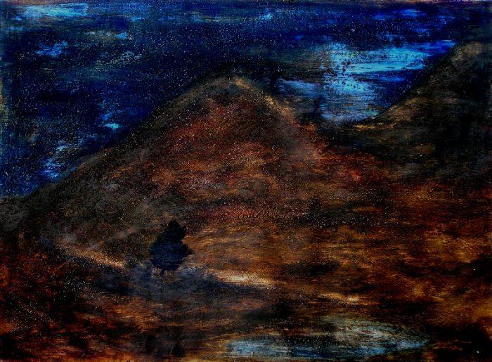 Yolande Bernard 2009 - Le rocher rêve de montagne - Acrylique et mortier sur papier.